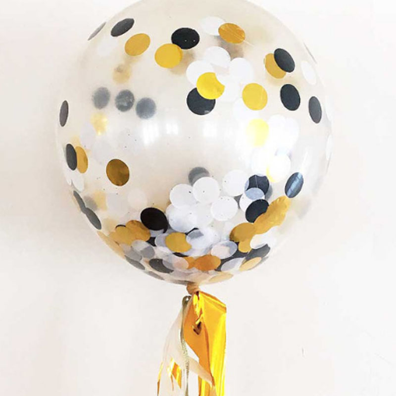 2pcs/lot High Quality Size 12inch Giant Clear Balloon Halloween Party Decoration Multicolor Paper Confetti Balloon