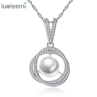 LUOTEEMI Sale Rose Shape Chain Paved Clear Cubic Zircon Stone & Inserting Charm Handmade Pearl Necklace Lovely Wedding Jewellery