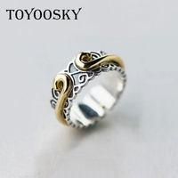 TOYOOSKY 100 925 Sterling Silver Inhibiting Magic Phrase Ring Fashion Designer Jewelry Ring For Men Women