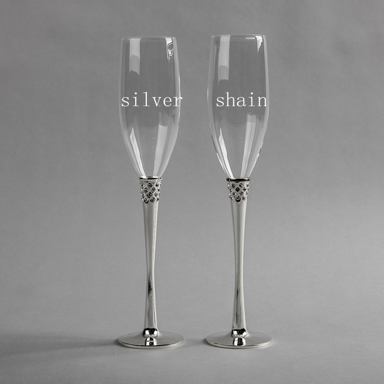 Buy 2014 mordern design shiny wedding silver plated champagn - Flute a champagne design ...