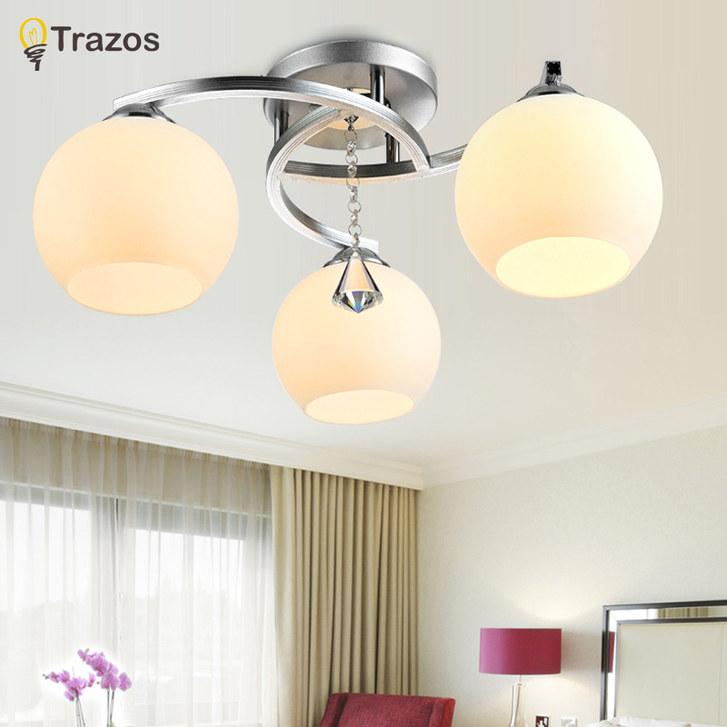 2018 Modern Ceiling Lights For Living Room 3 lights Flush Mount Ceiling Light Fixture (ChromeFinish) for Bedroom Living Room