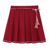 Mori Girl High Waist Vintage A line Skirt Lace up Tassel Short Pleated Skirt Sweet Lolita Women's Pure Colour Chic Bust skirt