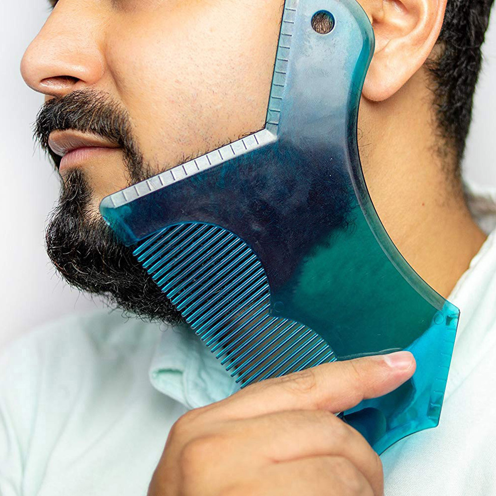 2019 Creative Beard Styling Shaping Template Ruler Comb Barber Tool Black/Clear Blue Symmetry Trimming Shaper Stencil