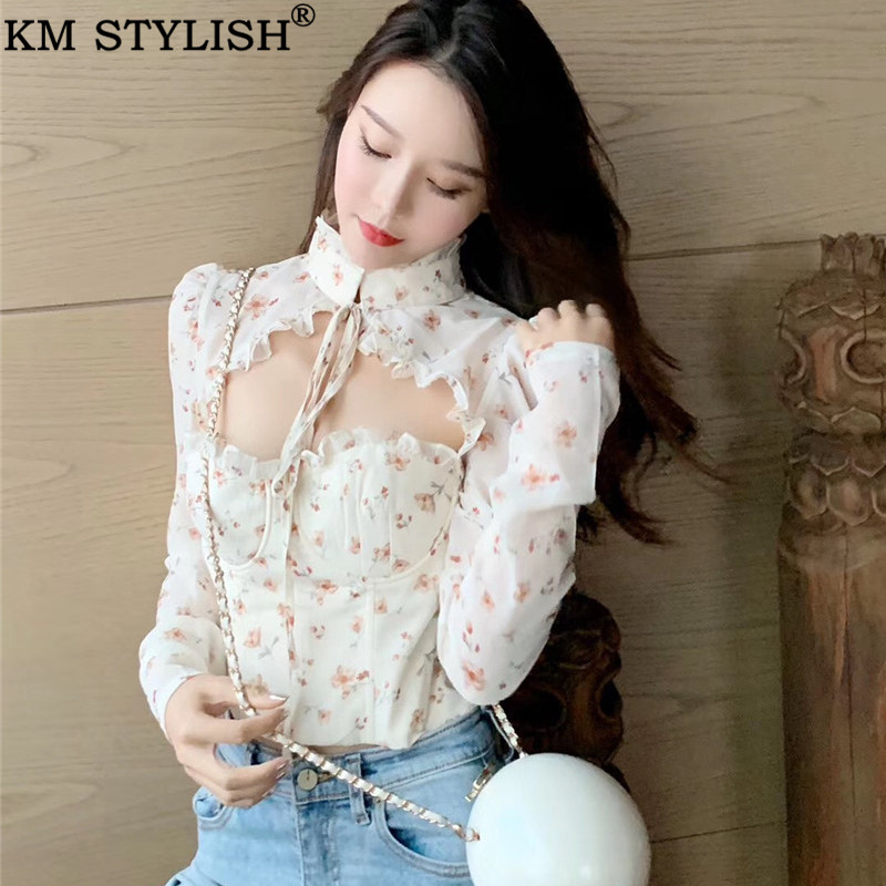 Spring New Vintage Lady Court Chest Cutout Floral Chiffon Blouse Shirt Women's Sexy Backless Slim Short Long Sleeve Shirt Top