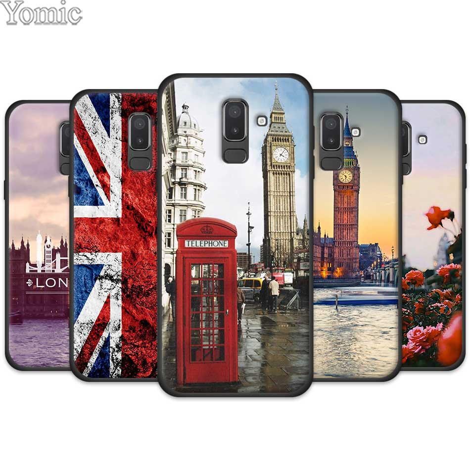 US $2 18 27% OFF|Black Cases Coque for Samsung Galaxy J4 J6 J8 Plus 2018  J4Plus J6Plus Silicone Mobile Phone Cover Flag United Kingdom London-in