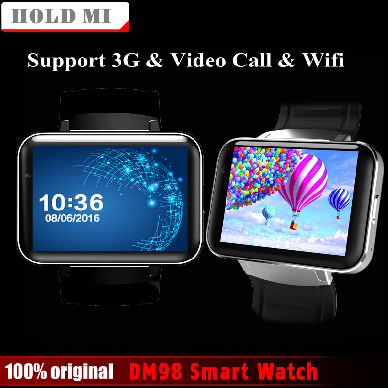 Hold Mi DM98 Smart Watch MTK6572 2.2 inch Screen 900mAh Battery 512MB Ram 4GB Rom Android OS 3G WCDMA GPS WIFI Smartwatch Stock eastvita dm98 smart watch 2 2 inch hd screen 512mb ram 4gb rom dual core android 4 4 os 3g camera wcdma gps wifi smartwatch r30