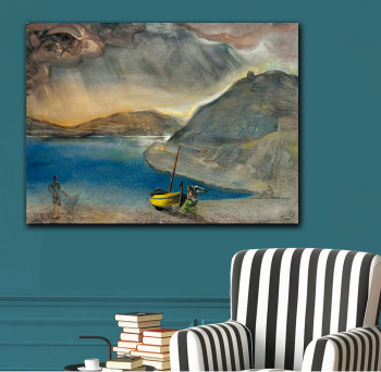 Salvador Dali port Lligat landscape, before the storm, 1956 Printed on Canvas Painting For Living Room Home Decor Wall Pictures 1