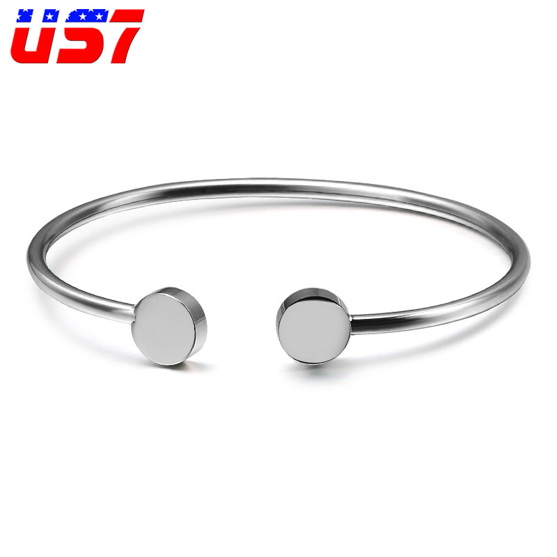 US7 Silver Stainless Steel Female Cuff Bracelets & Bangles Circle Square Open Street Taste Bracelets For Women Jewelry Bijoux