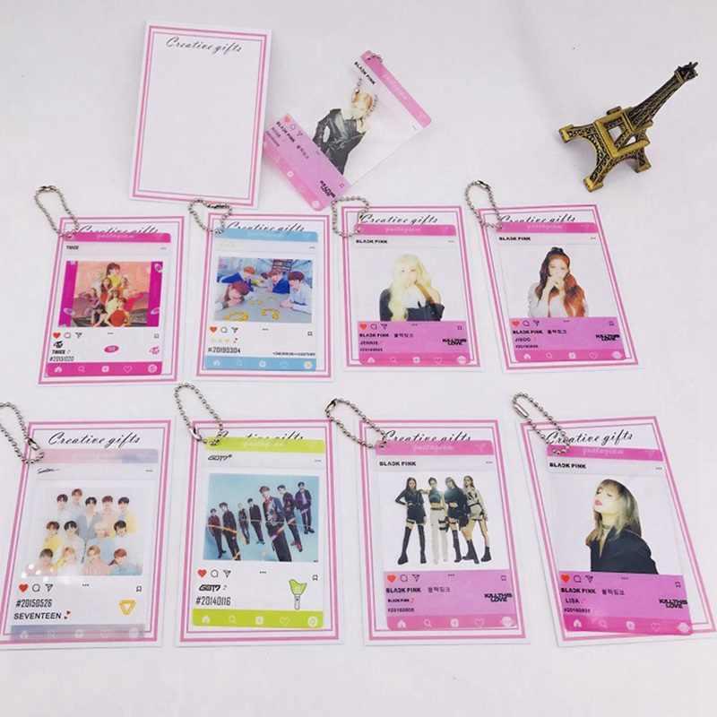 1 قطعة K-pop BLACKPINK مرتين GOT7 TXT سبعة عشر بولي كلوريد الفينيل سلسلة شفافة معلقة بطاقة صور ألبوم جديد فوتوكارد المشجعين جمع هدية