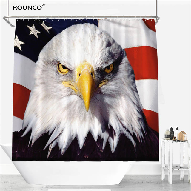 Parrot Eagle Waterfall Style Shower Curtain Polyester Fabric Bathroom Waterproof 12 Hooks Home Decor