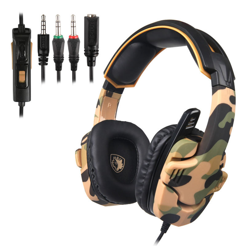 Sades <font><b>Camouflage</b></font> Sa930 Ps4 Kopfhörer 3,5 Mm Stereo Gaming Headset Mit Mikrofon Mic Für Computer/Handy/Tablet /neue Xbox image