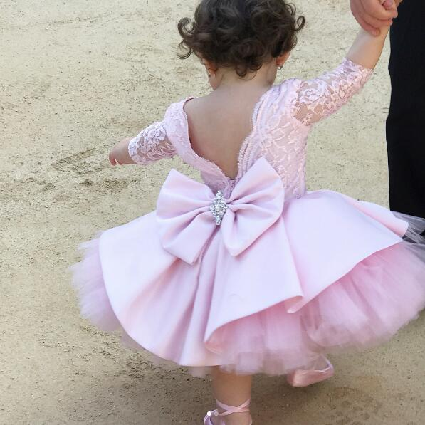 Pink lace baby tutu dress with sleeves V back crew neck infant birthday party outfit Easter