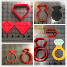 Wedding Diamond Ring Custom Made 3D Printed Fondant Cupcake Top Cookie Cutter Set Kitchen Accessories