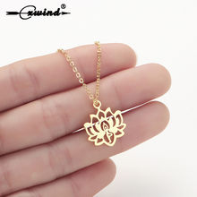 Cxwind Boho Lotus Pendants Necklaces Women Yoga Stainless Steel Colar Jewelry Buddhism Water Lily Indian Necklaces Bijoux Female(China)