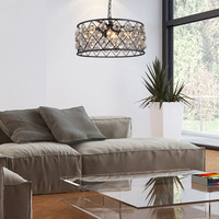 LED chandelier modern retro industrial style wrought iron black personality chandelier.