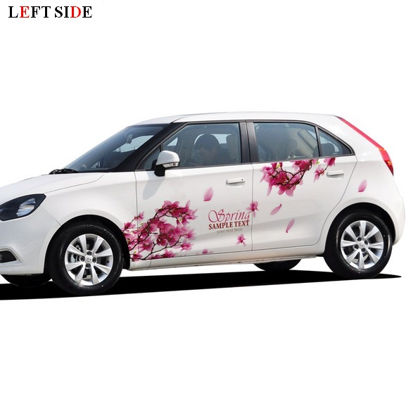 Left Side Car Stickers Fresh Pink Flower Car Styling Both