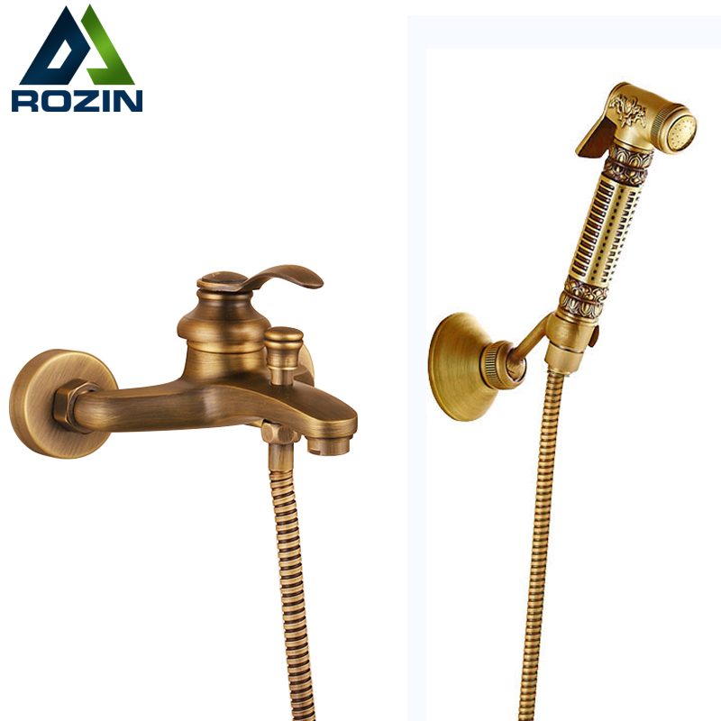 2017 Antique Wall Mounted Bath Shower Faucet Brass Handheld Hot and Cold Bidet Sprayer Head Bathroom Faucet sognare new wall mounted bathroom bath shower faucet with handheld shower head chrome finish shower faucet set mixer tap d5205