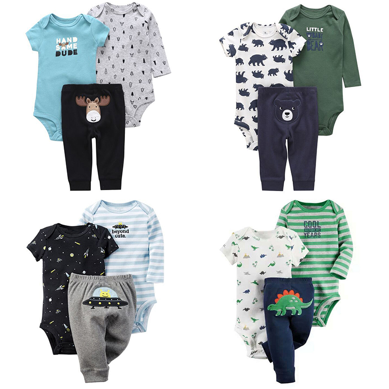 3PC Infant Baby Girls Elephant-Print Tops+Print Pant+Striped Romper Outfits Set