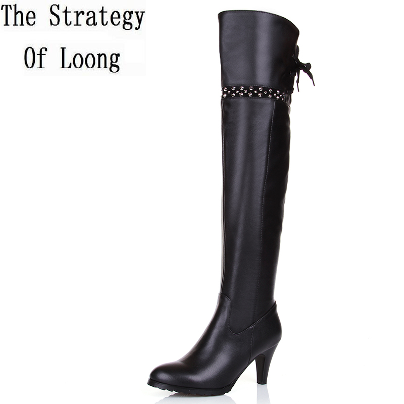Women Autumn Winter Full Grain Leather Pointed Toe Thin High Heel Side Zip Fashion Over The Knee Boots Plus Size 33-45 SXQ0909 women winter genuine leather low heel rivets pointed toe side zipper fashion over the knee boots plus size 33 43 sxq1013
