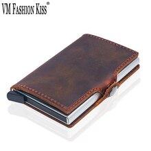 лучшая цена VM FASHION KISS Crazy Horse Genuine Leather Hasp Rfid wallet Aluminum Unisex Metal Credit Business Card Holder Minimalist Wallet