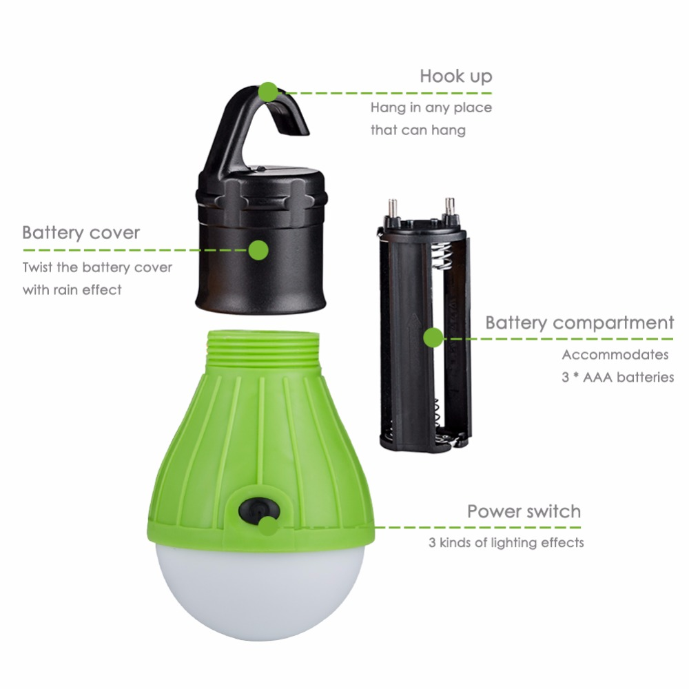 Symbol Of The Brand Portable Outdoor Hanging 3led Camping Lantern Soft Light Led Camp Lights Bulb Lamp For Camping Tent Fishing 4 Colors Aaa Battery Big Clearance Sale Lights & Lighting
