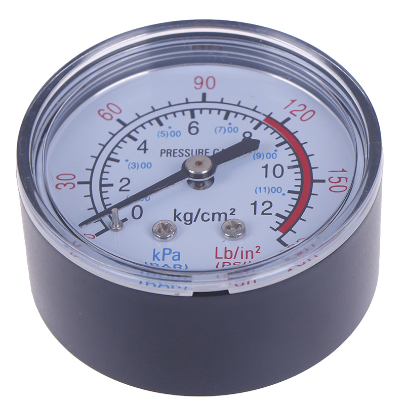 Practical Iron Shell Bar Air Pressure Gauge 13mm 1/4 Bsp Thread 0 ~ 180 PSI, 0 ~ 12Bar Double Scale For Air Compressor Hot Sale
