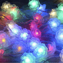 Battery Powered 5M LED Camellia Fairy String Light Christmas Wedding Party Decoration yingtouman iron small christmas tree battery powered lamp led string light christmas holiday party decoration lighting 5m 40led