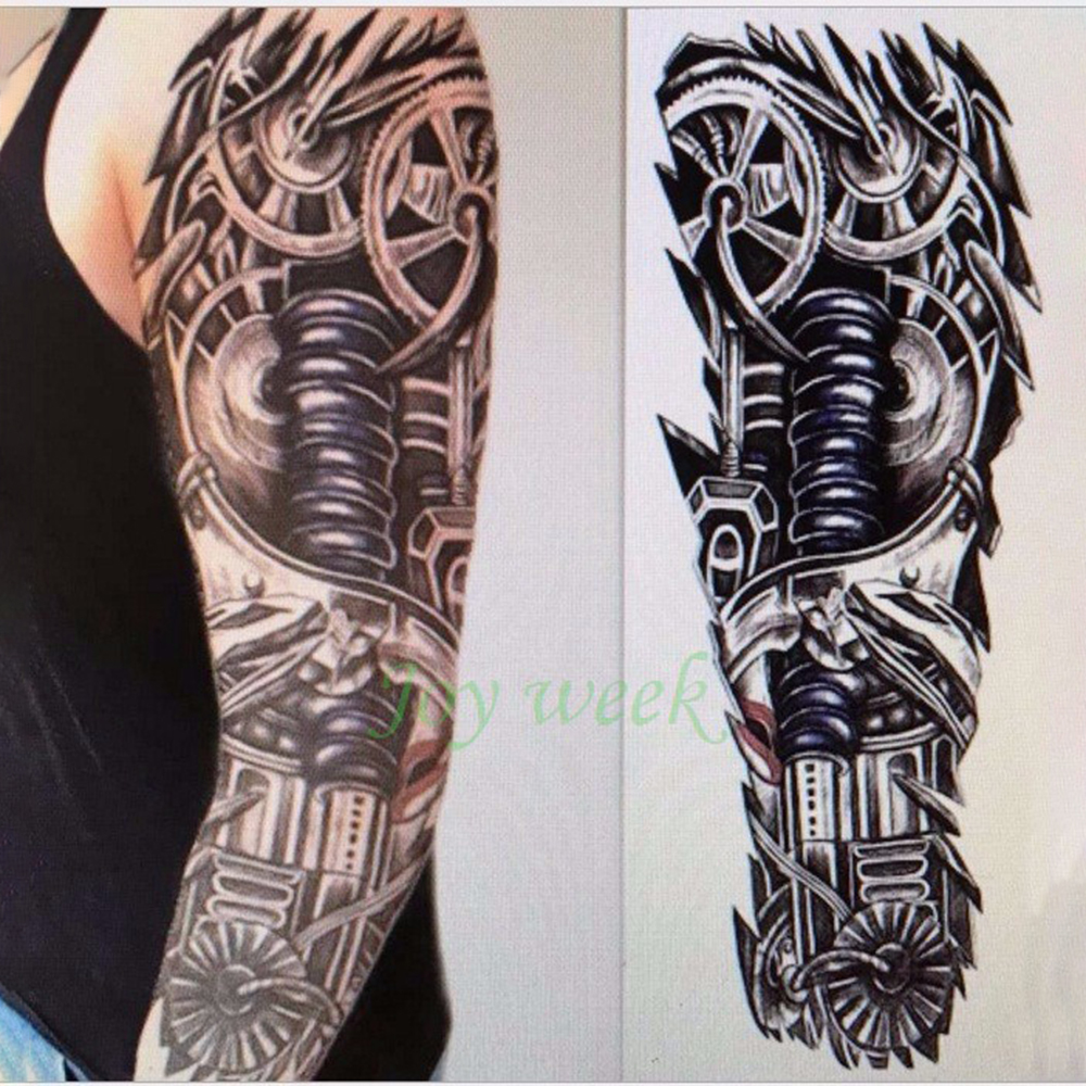 Waterproof Temporary Tattoo Sticker Full Sleeve Large Size Robot Arm Tatto Flash Tatoo Body Paint Fake Tatouage For Men Women 19