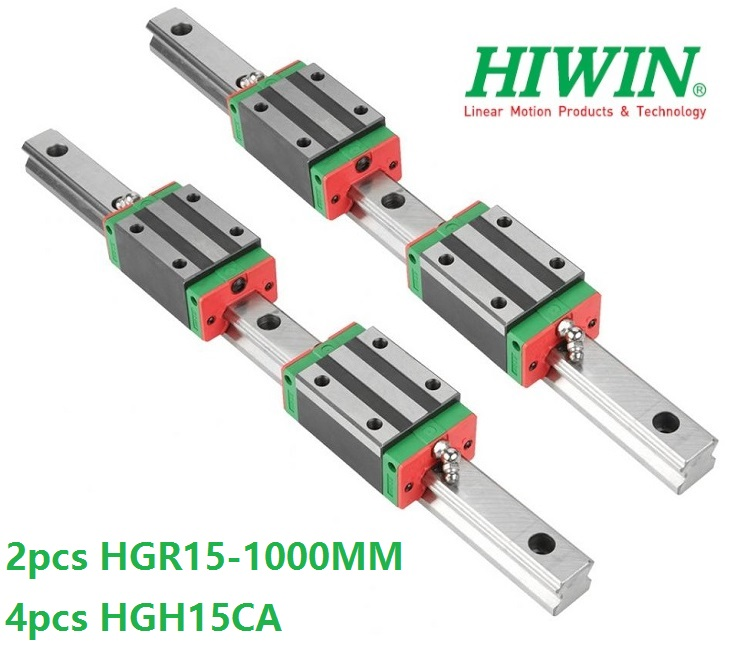 2pcs 100% original Hiwin linear guide rail HGR15 1000mm With 4pcs HGH15CA Or HGW15CA Linear Carriage Block For CNC HGW15CC  2pcs 100% original Hiwin linear guide rail HGR15 1000mm With 4pcs HGH15CA Or HGW15CA Linear Carriage Block For CNC HGW15CC