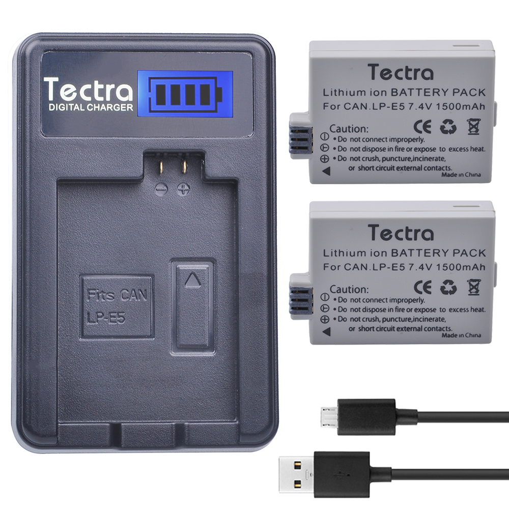 Tectra 2PCS LP E5 LPE5 1500mAh Li ion Battery LCD USB Charger for Canon EOS Rebel