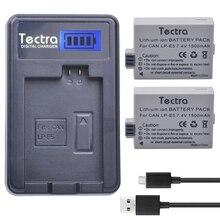 Tectra 2 шт. LP-E5 LPE5 1500 мАч литий-ионный Батарея + ЖК-дисплей USB Зарядное устройство для Canon EOS Rebel XS Rebel T1i Rebel XSI 1000D 500D 450D поцелуй X3