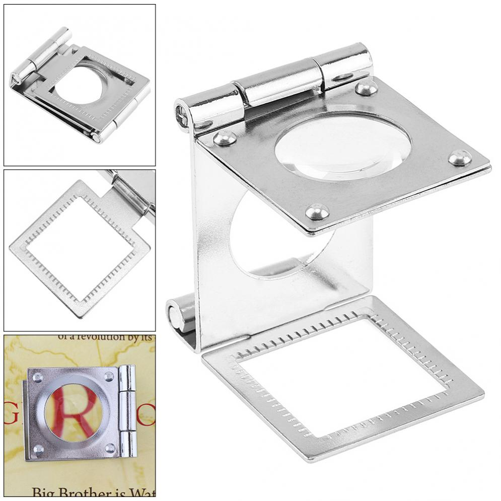 Продаж 10x Портативный Мини Tri-складной металлический Весы обнаружения рабочего стола Стекло Лупа