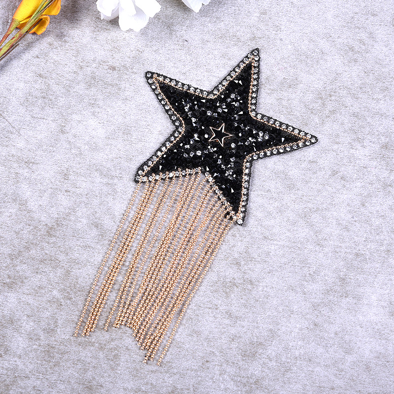 Luxury Crystal Rhinestone 6 Style Star Tassel Patches for Clothing Iron on Clothes  Appliques Badge Stripes Pentagram Sticker DIY-in Patches from Home ... 527ef12a17cb