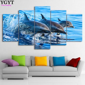 Oil Painting Canvas 5 Panel Animal Dolphin Modular Decoration Home Decor Frame Modern Wall Pictures For Living Room YGYT no frame canvas