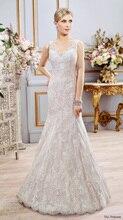 Elegant Mermaid Wedding Dress V-neck Front And Back Cap Sleeve Chapel Train Applique Sashes Bridal Gown NM 555