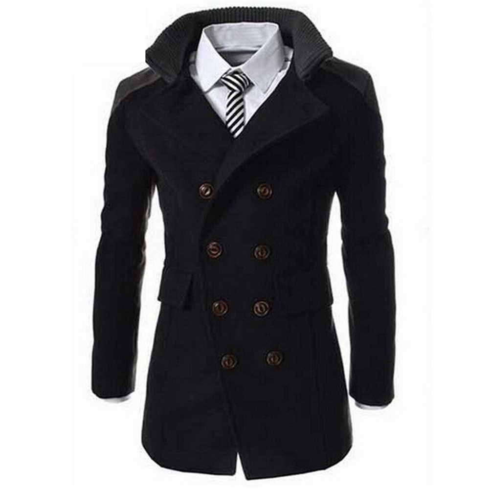 cf9de0f7d4f ... Helisopus Men Warm Jackets Fashion Wool Blend Long Coat Men Turn-down  Collar Solid Color ...