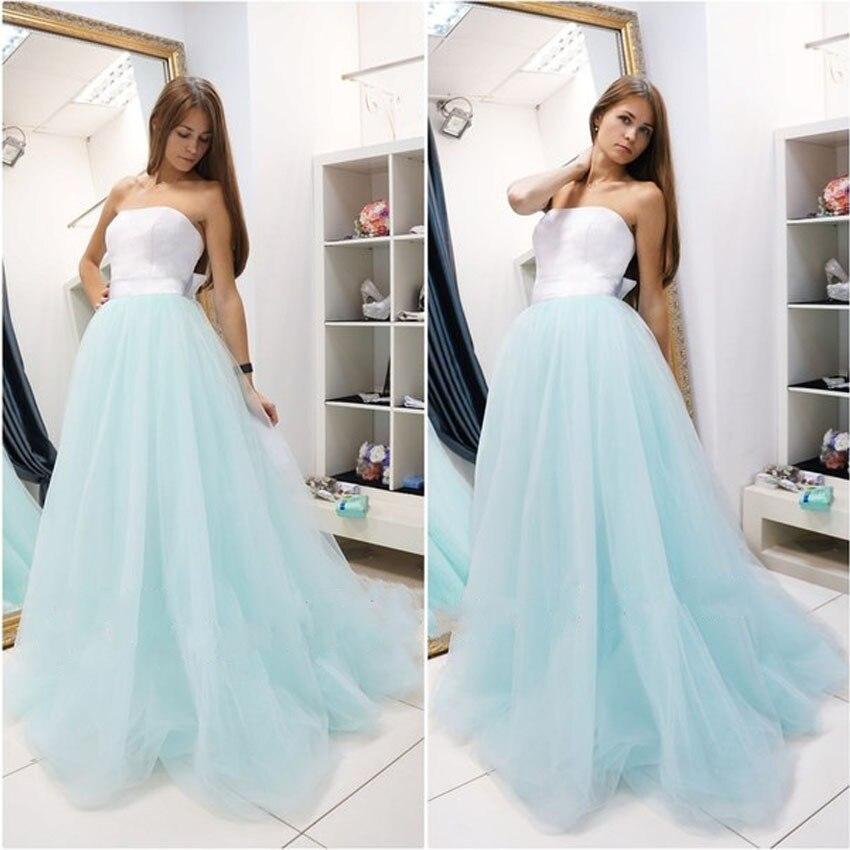 Simple blue prom dresses