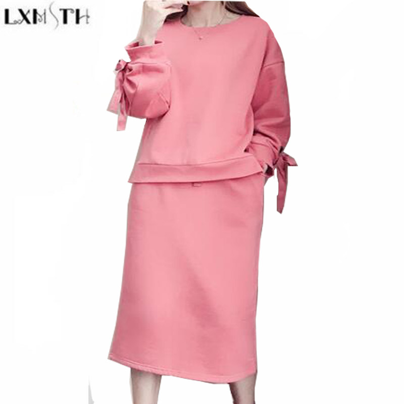 LXMSTH 2019 Spring Women's Tracksuit Hoodies Set Plus Size Loose Pullover Hoodie Casual Set Women Two Pieces Skirt Suit Pink 5XL