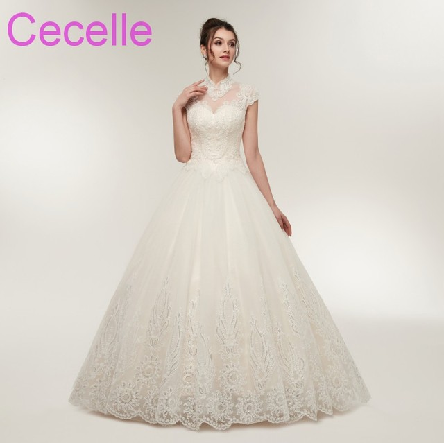 540ee45116e8 2019 New Designer Ball Gown Wedding Dresses Cap Sleeves High Neck Corset  Back Floor Length Western Bridal Gowns Ready to Ship