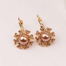 Trendy Elegant Big Simulated Pearl Long Earrings Golden Statement Dangle Wedding Party Friend Gift fashion earrings J35