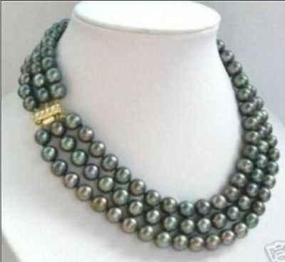 3 แถว 7-8 มม.ธรรมชาติ tahitian black pearl สร้อยคอ