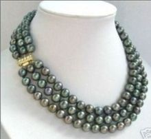 3 row 7-8mm natural tahitian black green pearl necklace