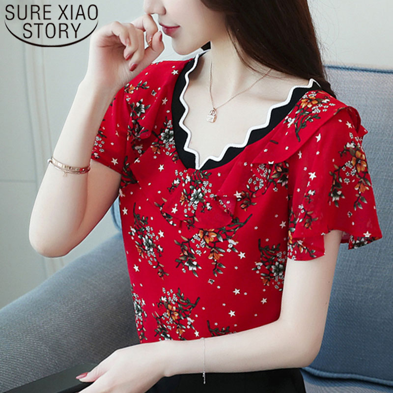 Women   blouse   and tops 2019 red Floral Chiffon Women   Blouse     Shirt   Female Short Sleeve   shirts   V Collar ladies Tops Blusas 0573 40