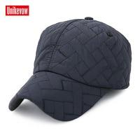 Unikevow Mens Winter Baseball Cap Warm Snapback Earmuffs Hat For Women Men Gorras Square Sewing Casquette