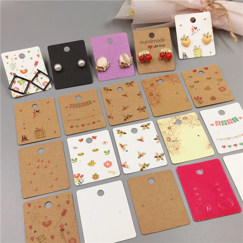 100 Pcs Retro Kraft Paper Earring Cards 5x4cm Multiple Styles Small Jewelry Accessory Displays Card Small Earring Packing Card