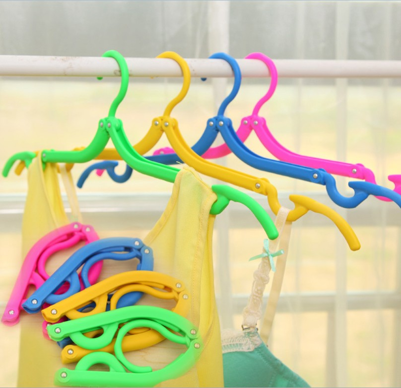 1PC New Plastic Folding Clothes Racks Portable Travel Space Saving Wardrobe Foldable Drying Cloth Hanger Hook Z539