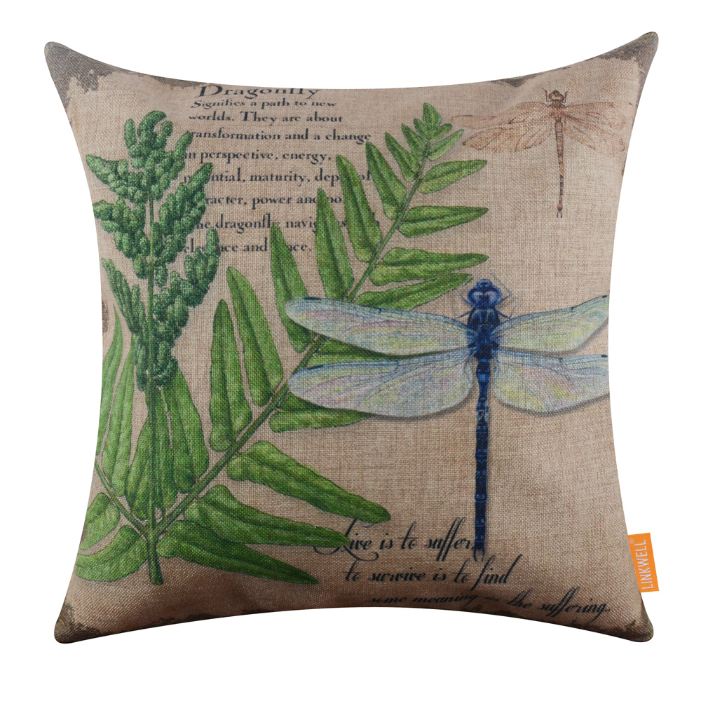 LINKWELL 45x45cm French Country Green Leaf Dragonfly Insect Vintage ...