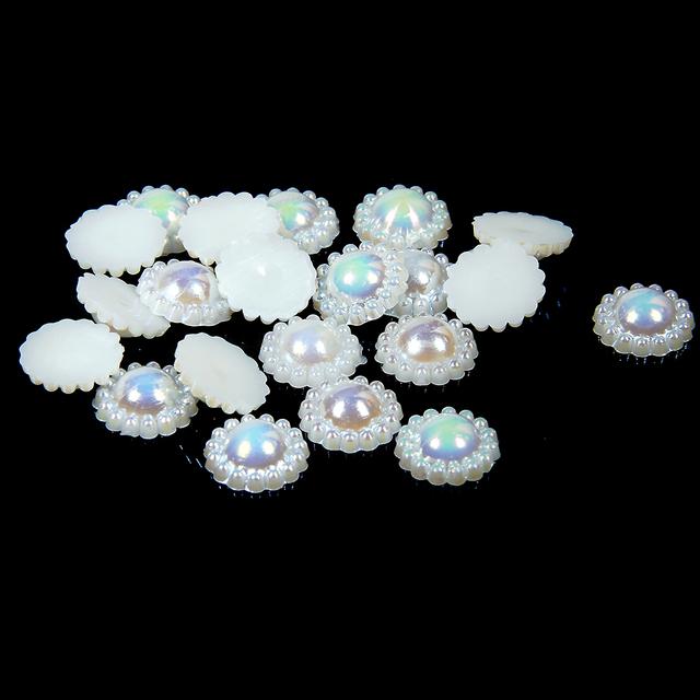 9-12mm 1000/2000 unids AB Resina ABS Medio Alrededor de las perlas de Imitación Perlas de Marfil Tarjetas De Boda de Girasol adornos DIY Decoraciones