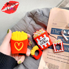 PINK LIPS Cute 3D Popcorn French fries Silicone Earphone Shockproof Case For Airpods Wireless Bluetooth Headset Box bag