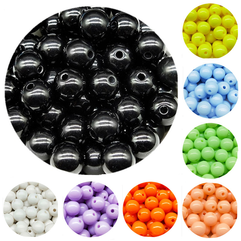 200/200/100/100/50pcs/lot  3/4/6/8/10mm Cheap Hot Acrylic Beads Fits For Handmade DIY Necklace Bracelet Jewelry Making Wholesale(China)